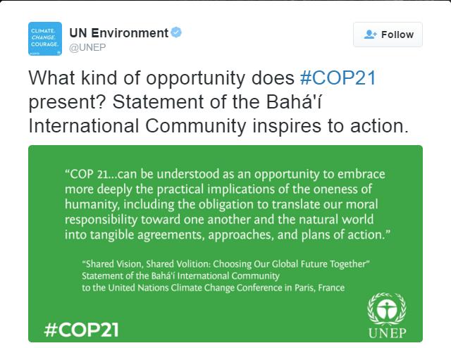 COP21'de Bahailer birliğe doğru hareket görüyor - 03
