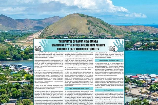 Papua Yeni Gine Bahaileri Toplumda Kadınlara Şiddetin Artması Üzerine Bir Basın Açıklaması Yayınladı - 01